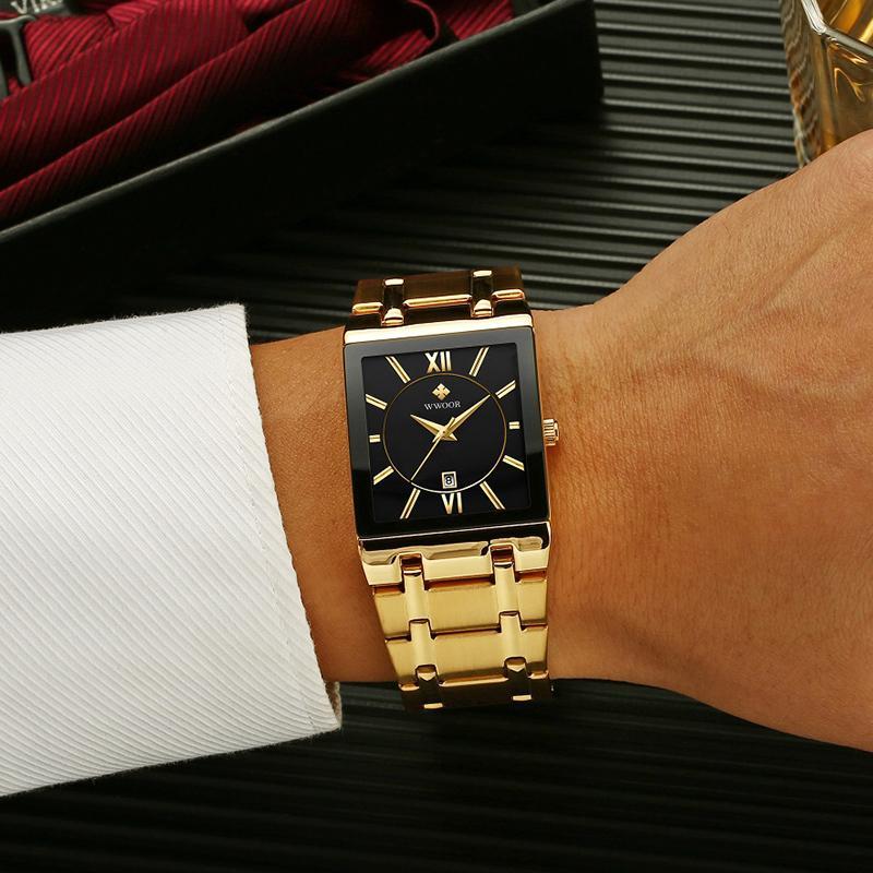 Mode Edelstahl Uhren Männer 2021 Wwoor Square Wasserdichte Quarzuhr Männer Top Marke Luxus Gold Schwarz Armbanduhr für MAN 210303