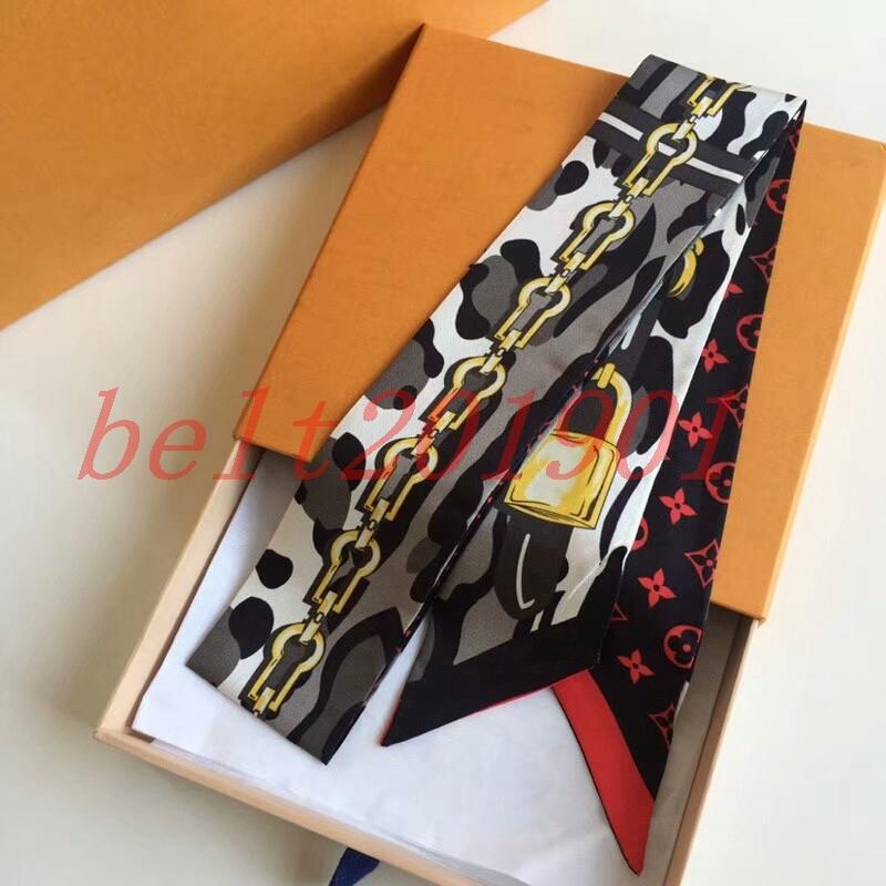 브랜드 실크 넥타이 패션 클래식 여성 100 % 실크 헤드 브랜드 헤어 밴드 디자이너 스카프 작은 리본 인쇄 실크 스카프 120 * 8cm