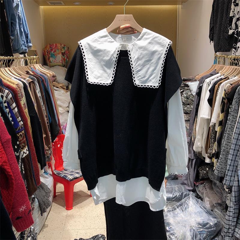 Superaen Frühling und Herbst 2021 New Sailor Collar lose volles massives Hemd + gestrickte Weste Zwei Stück Anzug Frauen Mode