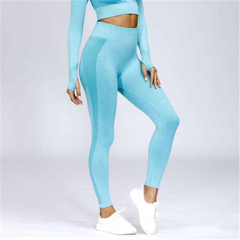 Mulheres Ginásio Skinny Leggings Moda Tendência Esporte Alta Cintura Casual Corrida Calças Feminino Novo Sem Emenda De Tricô Fitness Yoga Sportswear