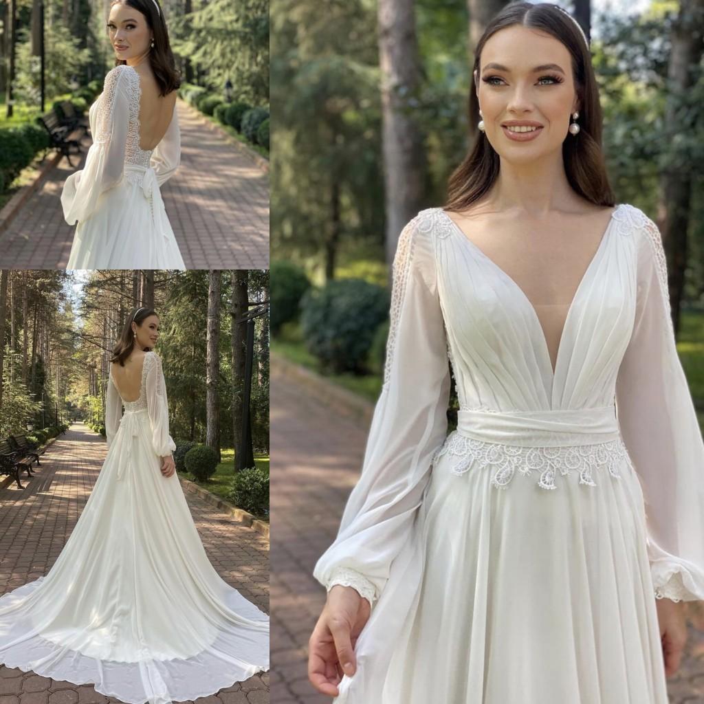 2021 Nuevos vestidos de novia Playa A-Line Vestido de boda Maternidad Vestidos nupciales de manga larga sin espalda Clea de encaje de marfón Boho