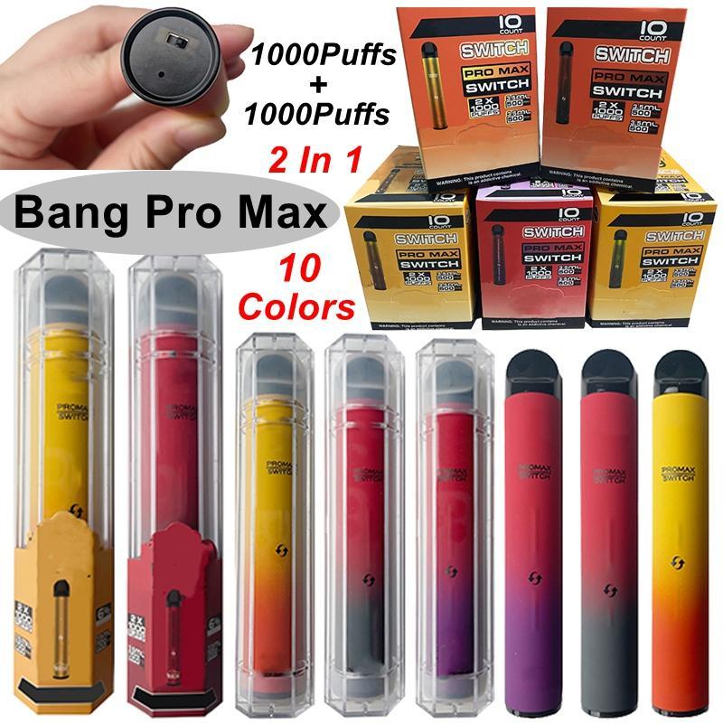 1000 + 1000puffs Bang Pro 최대 일회용 vape 펜 2 in 1 double e 담배 키트 1000mAh 배터리 3.5 + 3.5ml 카트리지 vapes 빈 오일 카트
