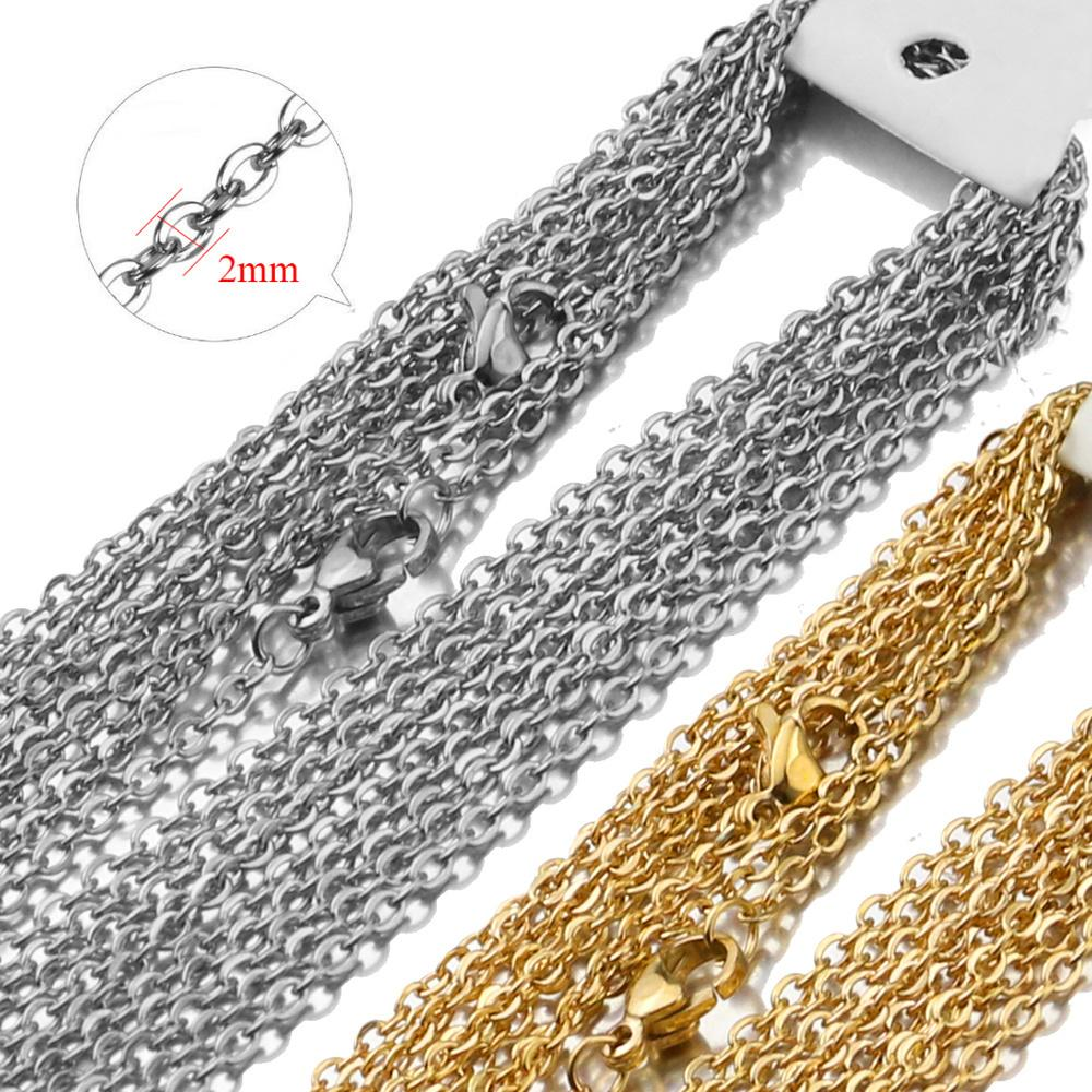 10 stücke 50 cm weite 2mm edelstahl gold color plattierte halskette kubanische ketten für diy schmuck zu findigkeiten material material handgefertigt