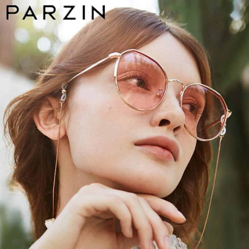 Parzin óculos de sol de luxo mulheres quadro de metal feminino sol óculos retrô tons de nylon lentes uv 400 8205