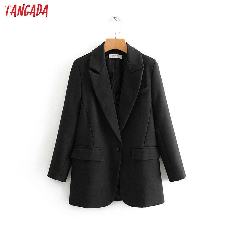 Tangada Moda Kadınlar Siyah Takım Elbise Blazer Uzun Kollu Cep Ofis Bayan İş Ceket Kadın Retro Tops DA45 X1214