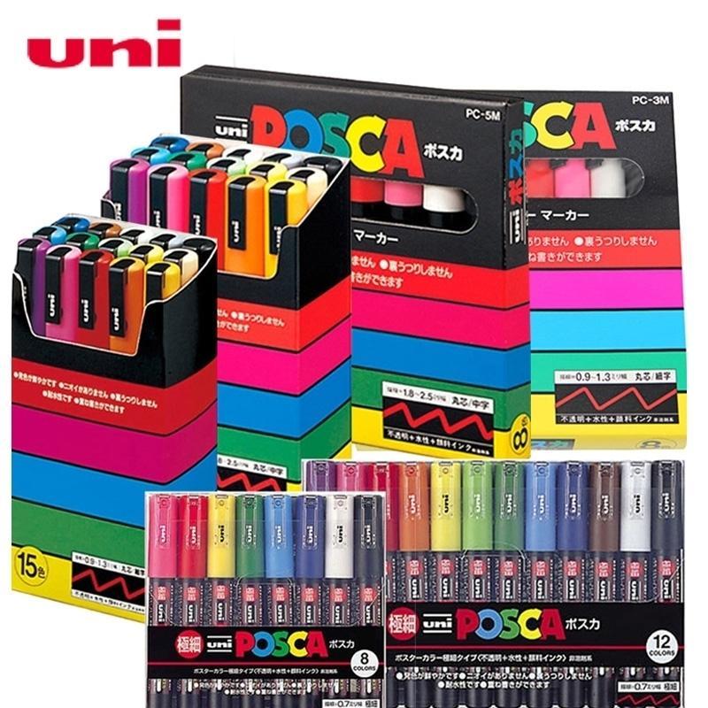 Uni Posca Set Pop Poster Puter Publicidade Graffiti Marker Color Bright Multicolor Pen PC-1M PC-3M PC-3M 201125