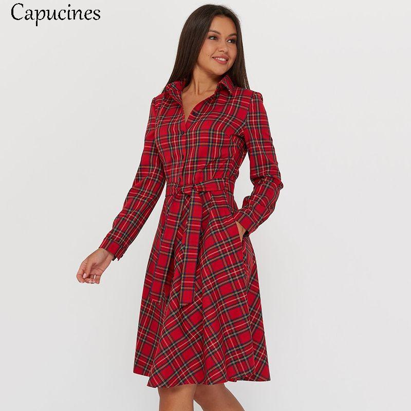 CAPUCINES Vintage İskoç Ekose Gömlek Elbise Kadınlar Sonbahar Uzun Kollu Turn-down Yaka Kemer Düğmesi Bir Çizgi Günlük Elbiseler Vestido F1202