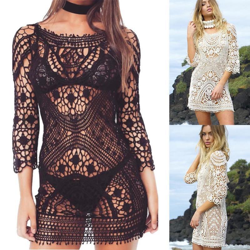 New Fashion Women Beach Hollow Out 3/4 Manica a maglia a maglia 3/4, Slim Bikini Floral Bikini Copertura posteriore Lunghezza dell'anca del pizzo posteriore1