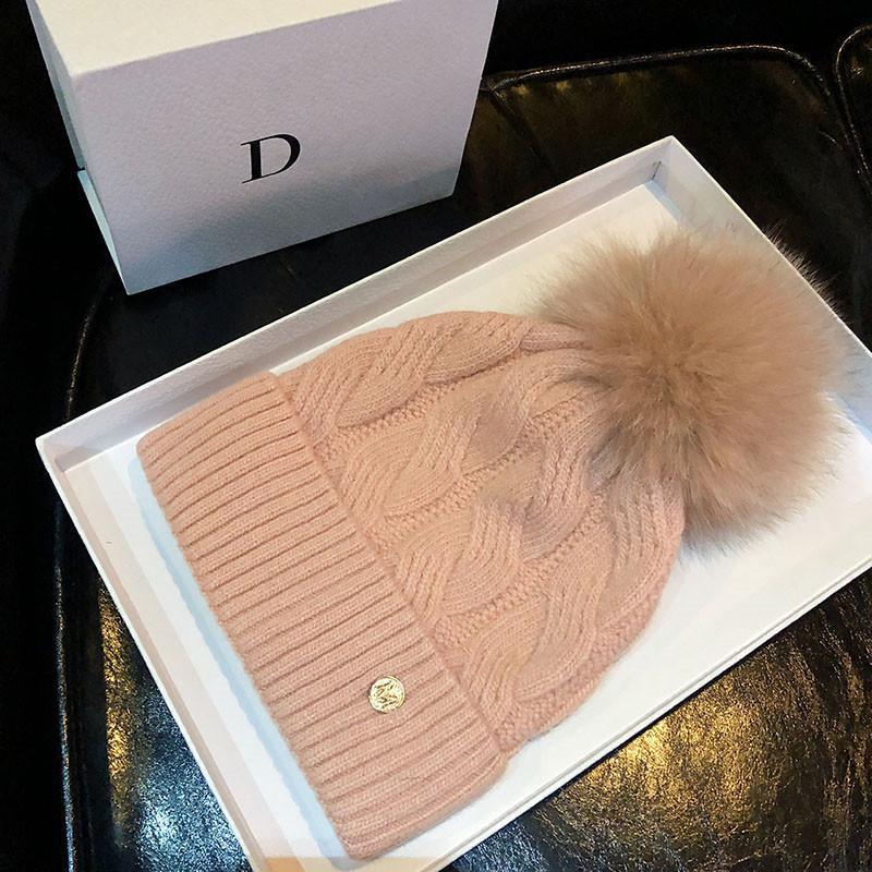 Berretti di lana Vera naturale Pur Pom Pom Poms Moda Cappello a maglia Cappello Ragazze femminile Berretto Berretto Berretto Pompon Inverno Cappelli per le donne