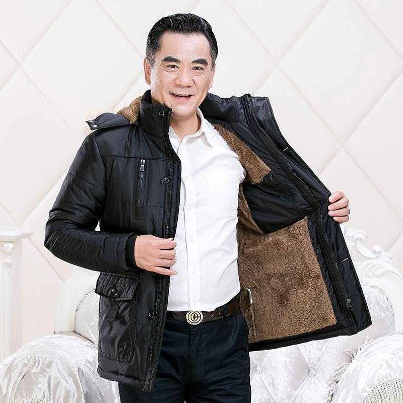 2020 winter middle-aged and elderly dad wear hooded plus velvet thick warm cotton jacket men's padded jacket