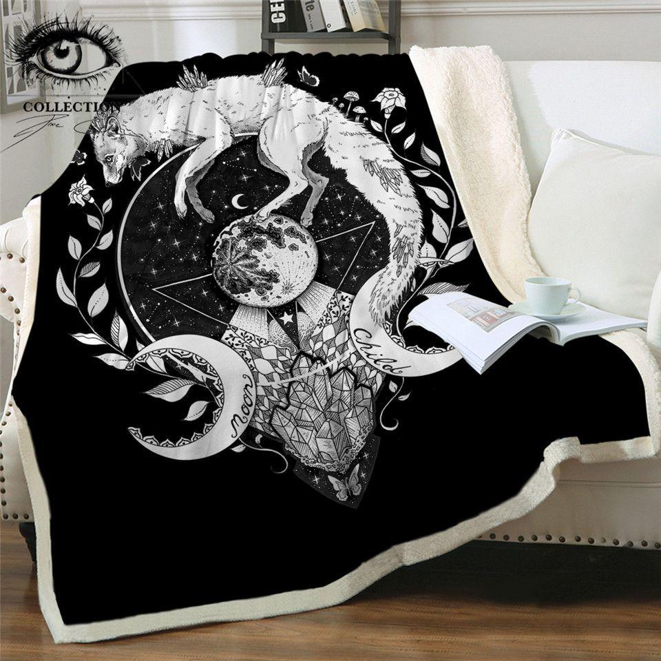 Niño de luna por Pixie Arte fría cama Mantas Lobo Galaxy felpa Colcha Fox suave manta del tiro Planeta Negro Ropa de Manta para sofá X1029