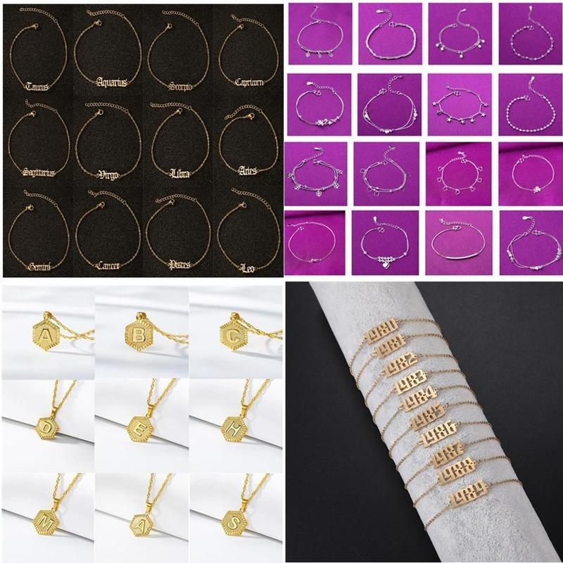 النساء الخلخال سلاسل 12 الأبراج / A-Z إلكتروني / سنة رقم 1980-2020 / S925 الفضة سلسلة قلادة الفولاذ المقاوم للصدأ سلسلة مجوهرات سلسلة مجوهرات