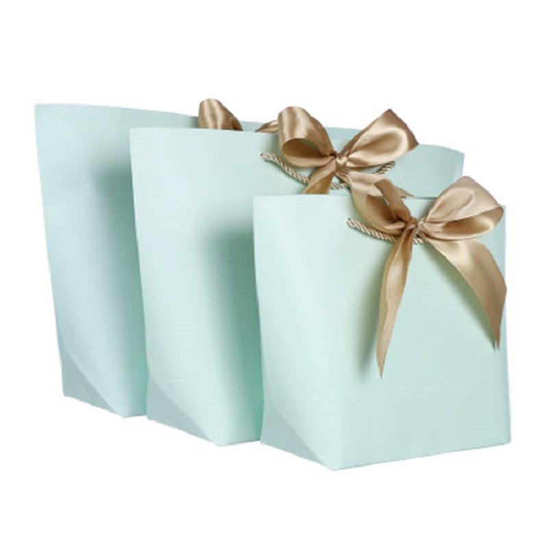 Contenitore di regalo di grandi dimensioni Confezione dell'oro Maniglia dell'oro Borse regalo di carta Borse Kraft con manici Wedding Baby Shower Birthday Party Favore HHE3366