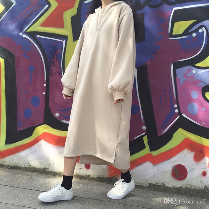 Frauen Hoodies Kleid Pullover Lange Sweatshirts Harajuku Plus Größe Langarm Hoody Weiblicher Herbst Chic Übergroßer Hoodie