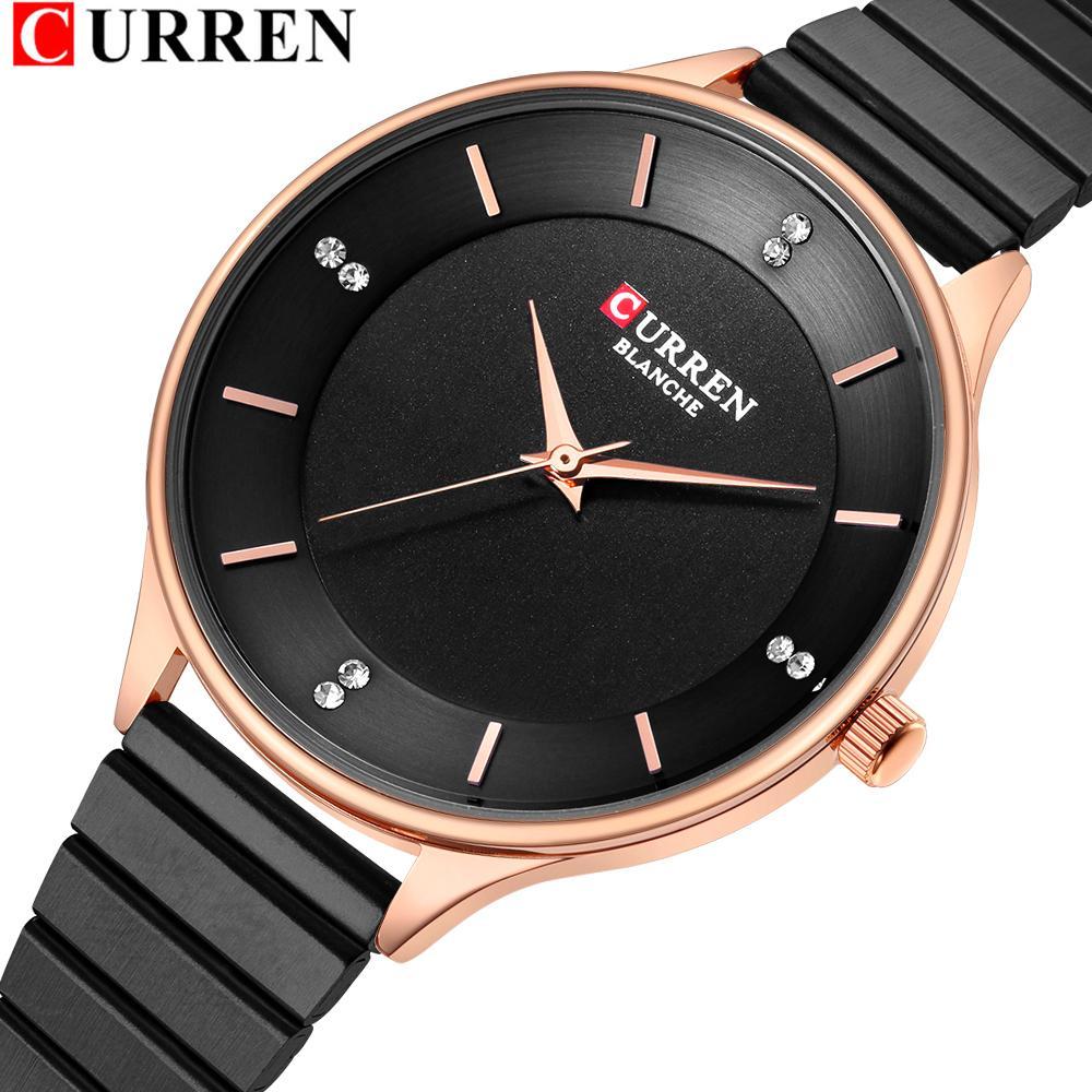 Relógio de Rhinestone para Mulheres Curren Mulheres Aço Inoxidável Pulseira Relógios Moda Senhoras Quartz WristWatch Feminino Clock J1205