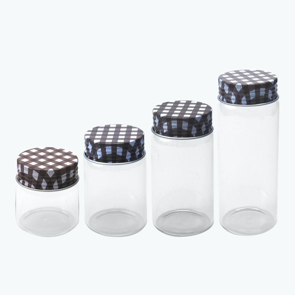 6PCS 50ML 80ML 100ML 150ML واضحة قوارير الزجاج مع براون الألومنيوم غطاء الإبداعية هدايا زجاجات الحرف الحلوى الجرار إعادة الملء السفر