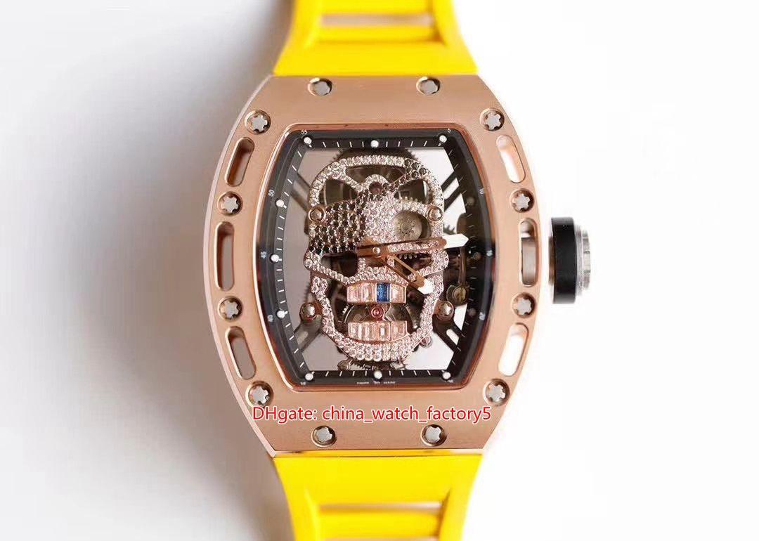 4 Cor Melhor Qualidade Relógio 42.7mm x 50mm x 16mm RM 52 RM52 Cabeça de Crânio Diamante Borracha Bandas Transparente Mecânica Mens automático Mens WATC