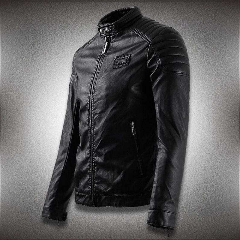 PU Faux couro casaco homens motocycle novo magro encaixe encaixe ciclista de couro casaco de couro tops homem applique