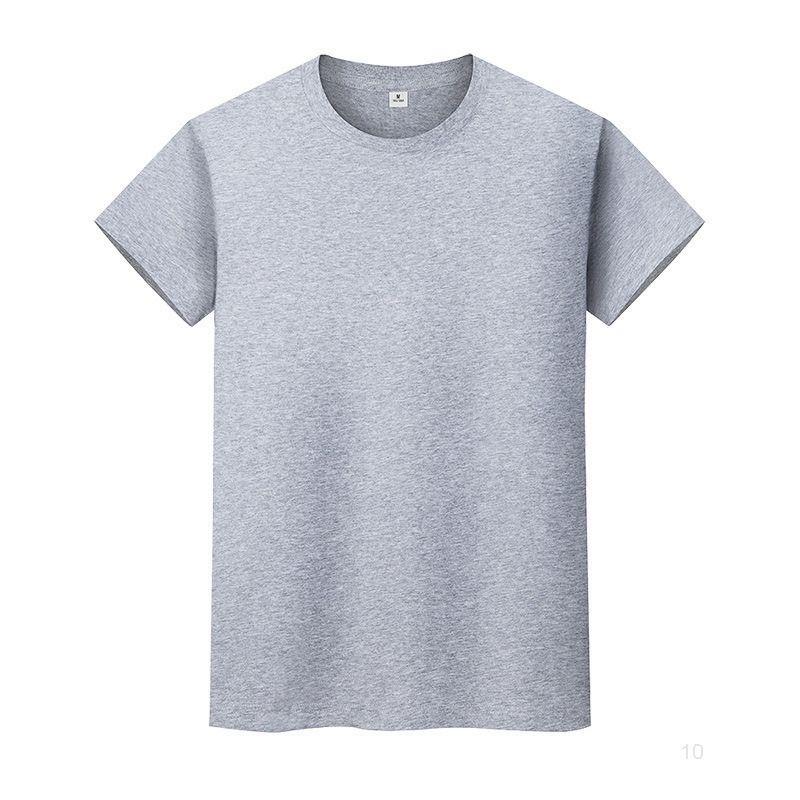 Nouveau t-shirt de couleur massif de col rond en coton de coton à manches courtes et à manches courtes à manches longues 5eequio