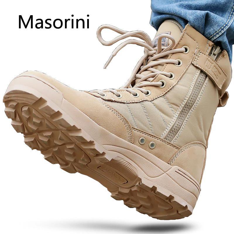 Rutschfeste Männer Wüste taktische militärische Stiefel Herren arbeiten Safty Schuhe Armee Kampfstiefel Militares Tacticos Zapatos Männer Stiefel 201126