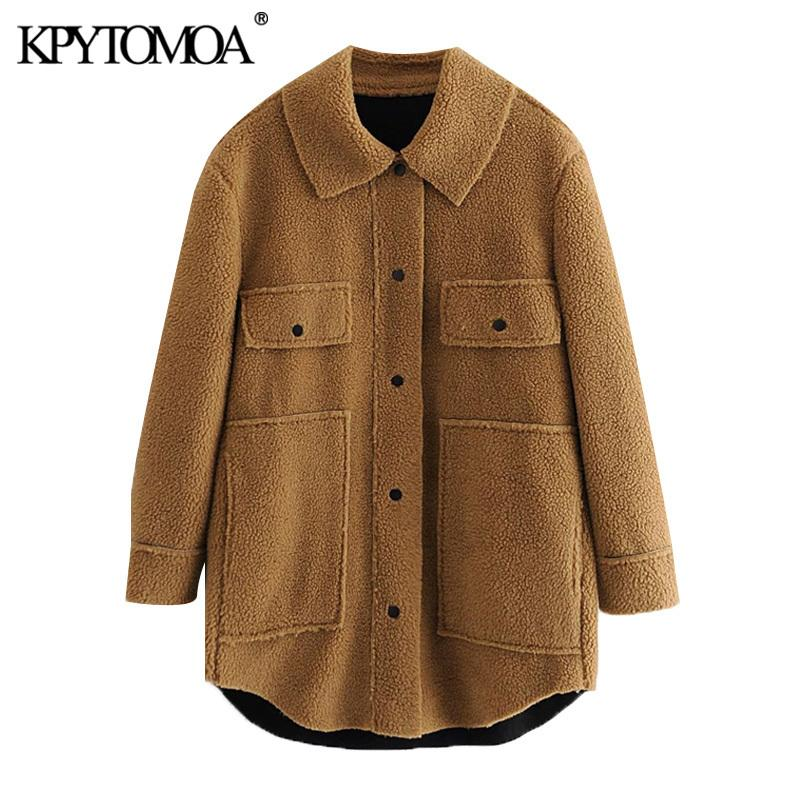 Kpytomoa Donne 2020 Fashion Oversized Downed Faux Fur Teddy Coat Vintage Manica Lunga Pocket Femmina Capispalla Chic OverCoat Z1205