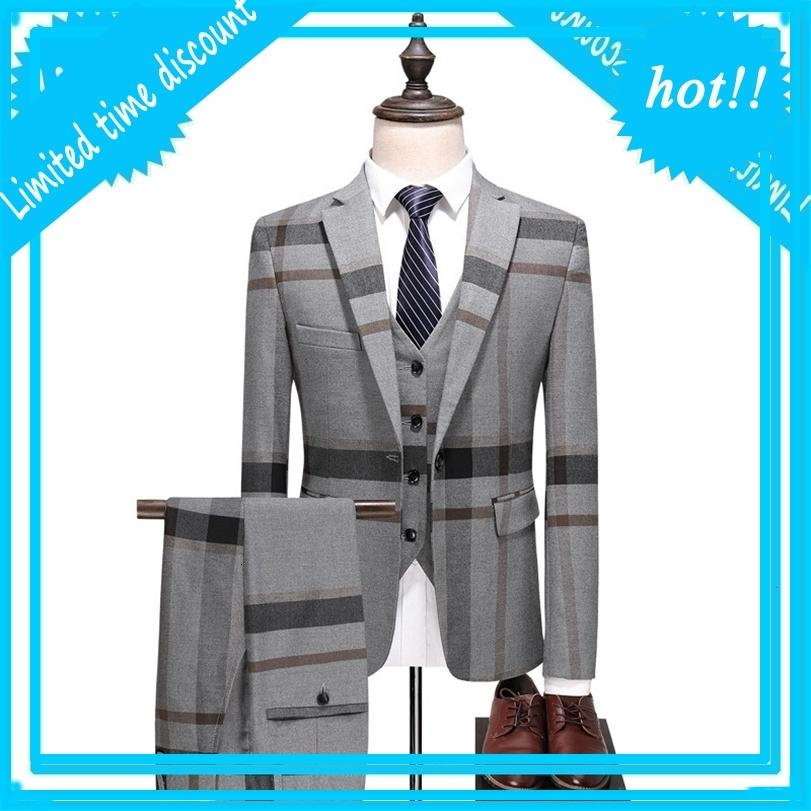 Blue Grey Plate Stripped Pack 2020 Slim fit smoking wedding per uomo vestiti classici cappotto formale cappotto broek gilet