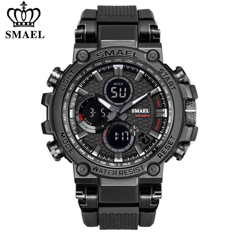 Smee Hommes Sport Montres Digital Double Time Chronographe Watch Mens LED Chronometre Semaine de l'affichage Montre-Bracelet Montre Homme Heure 210303