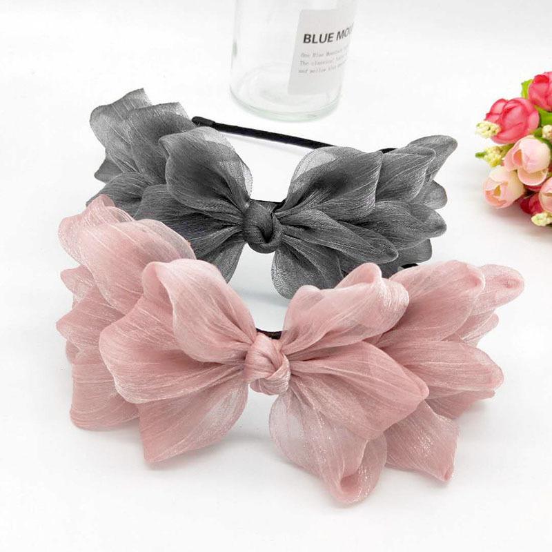 Fita quente Big Bow Floral Floral Cabelo De Cabelo Mulheres Acessórios De Cabelo De Cabelo De Cabelo Preto Rosa Meninas Flor Lace Bow Band Faixa Y0124