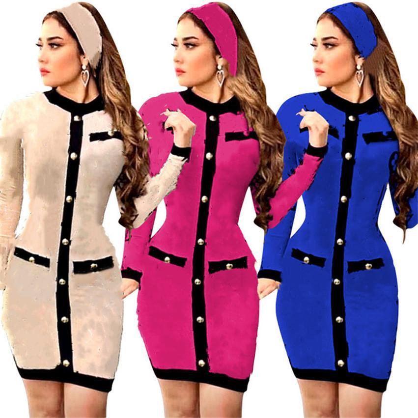 Женские платья с длинным рукавом MIDI платья S-2XL повседневная мода зимний осенний клуб осенью одежды над коленной юбкой улица носить DHL 4217