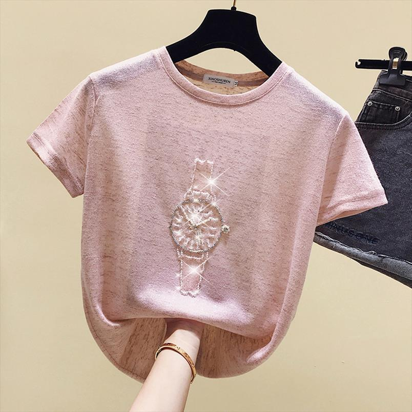 T Shirt Women 2020 Summer Tops Beading T Shirt Female Short Sleeve Korean Fashion Tshirt Woman Clothes Tee Femme