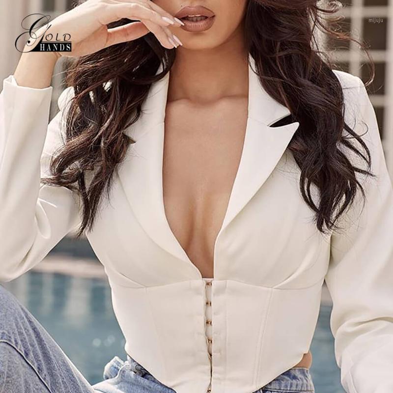 Mãos ouro terno casaco profundo pescoço sexy mulheres jaqueta terno branco manga comprida capa curta jaqueta feminina outwear festa de rua1