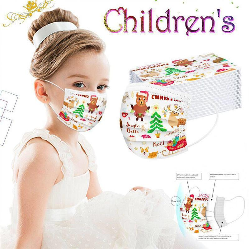 Christmas Kids Disposable Mask Fashion Dust-proof Breathable Halloween Interesting Printing Face Mask Child Children Masks Free Shipping