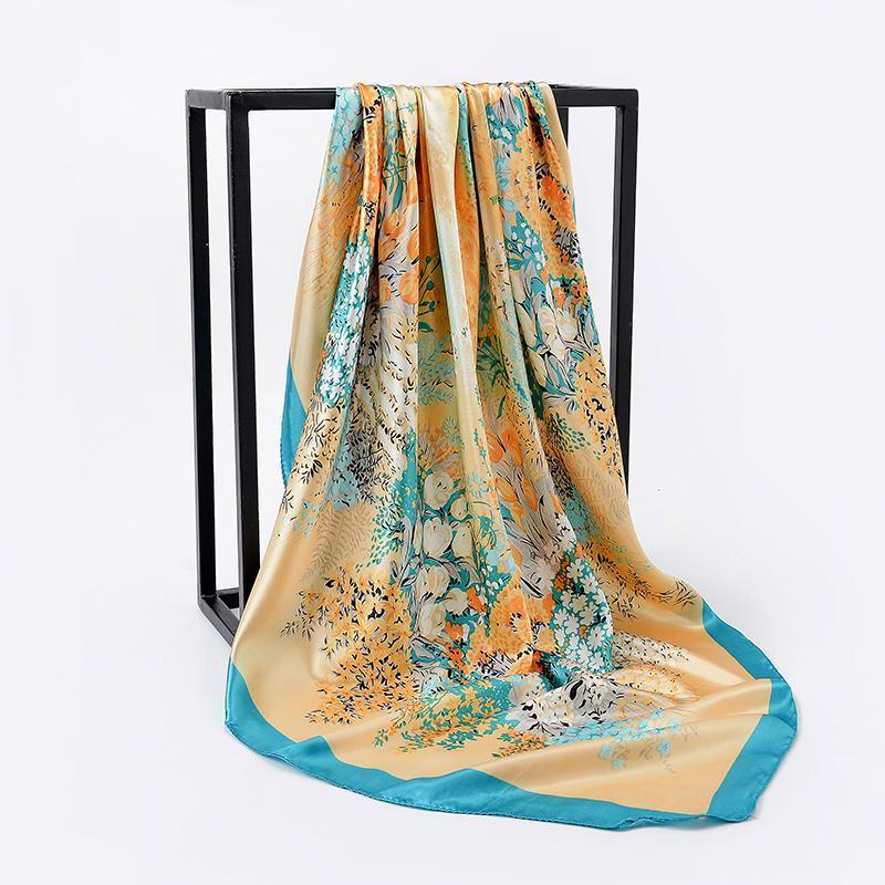 90 cm Nuovo Baihua Floral Winter Sciarpa Sciarpa Donne Sciarpa Seta Seta Femmina Bandana Fashion Scialle Sciarpe per Kerchief Sciarpe per Signore Asciugamano da spiaggia
