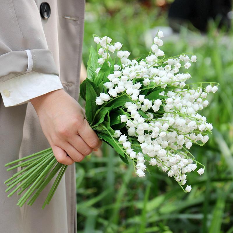 La flor artificial del lirio tacto verdadero artificial Orquídea del carillón de viento para el hogar de la boda decoración de jardín falsificación flor