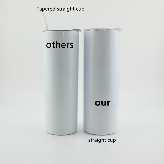 Heat Sublimation Straight cup 20oz Stainless Steel Skinny Insulated Tumbler DIY Straight Cups White Beer Coffee Mugs In Stock WY949