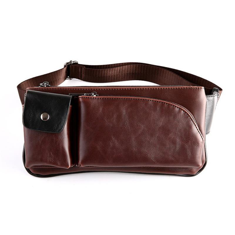 Casual Fashion Men Leather Cowhide Vintage Travel Phone Belt Pouch Fanny Sling Pack Waist Purse Bag Chest Bags