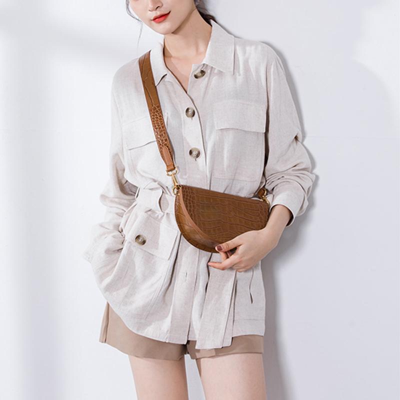 Mabula Moda cocodrilo semicírculo Crossbody de una silla bolsas de hombro de la PU del bolso de cuero de lujo para las mujeres bolsa de mensajero Q1116