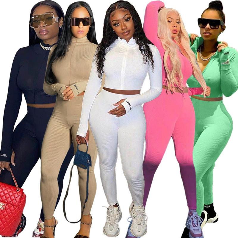 Women Tracksuits Two Pieces Set Solid Colour Nightclub High Collar Embroidered Letter Zipper Sports Outfits Ladies Sportwear New 2020 BG