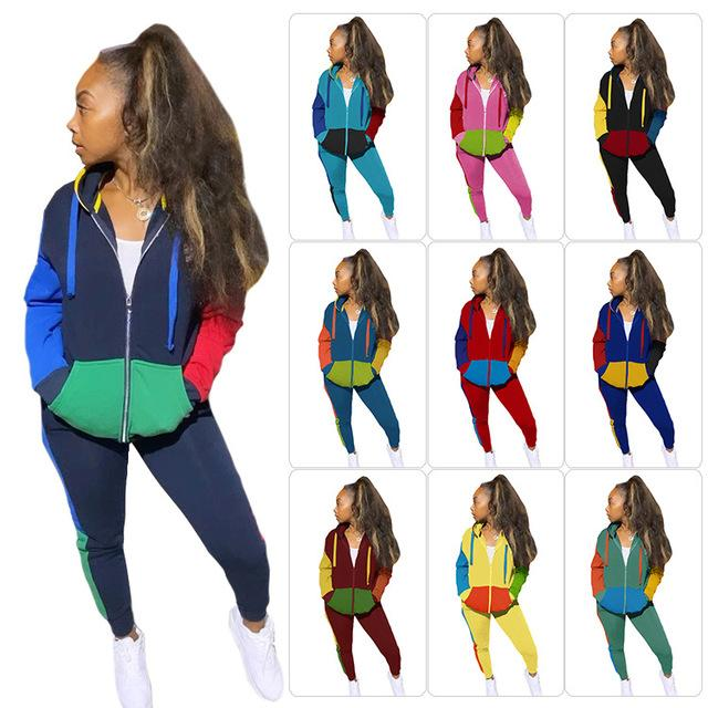Multi-color Patchwork Womens Clothing Suits Long Sleeve Hooded Zipper Coats Ladies Casual Pants OL Style Women Two Piece Sets
