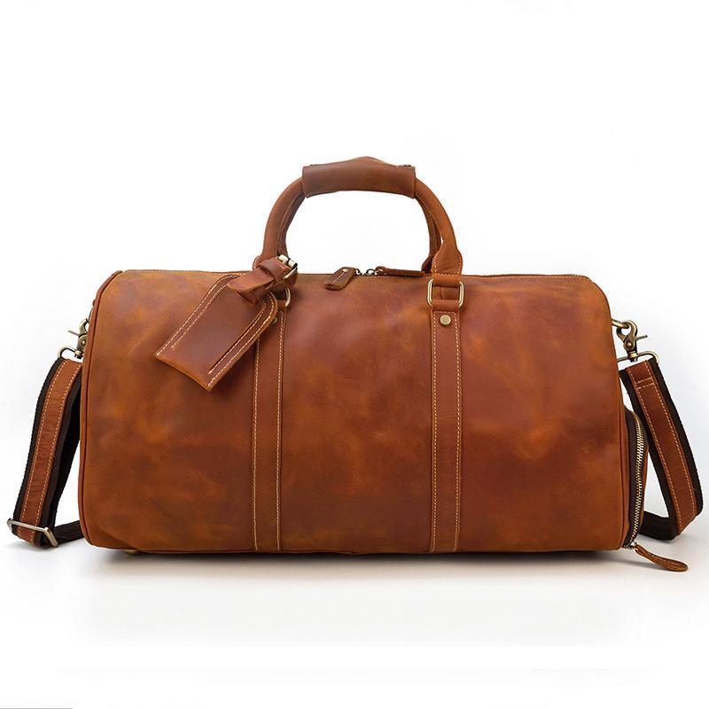 YUPINXUAN Brown amarelo Crazy Horse Couro Duffle Bag para couro de vaca Men Vintage Bolsas de viagem Big