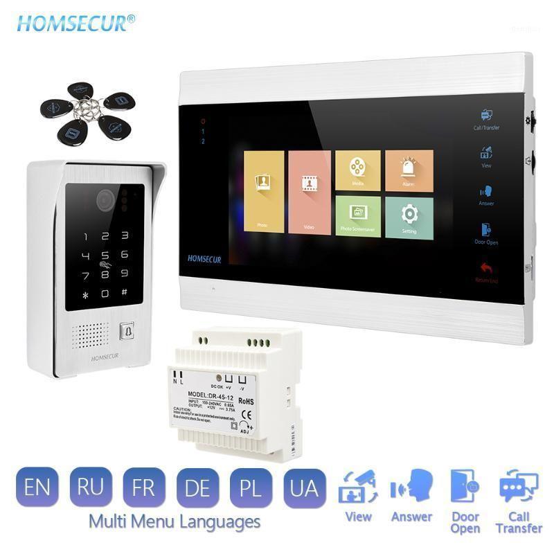 """فيديو باب الفيديو Homsecur 7 """"VideoAudioyaudio Free Home Intercom 1.3MP مع كاميرا فضية للمنزل / شقة الروسية"""