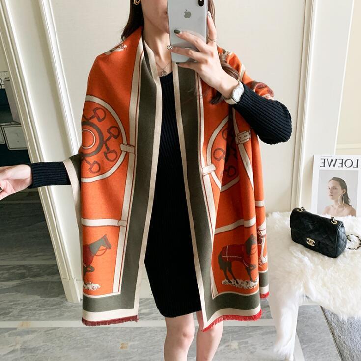 Kış Eşarp Kadın Kaşmir Eşarp Moda Sıcak Fular Lady Klimalı Ofis Atkılar Kalın Yumuşak Şallar Sarar 2021 Yeni