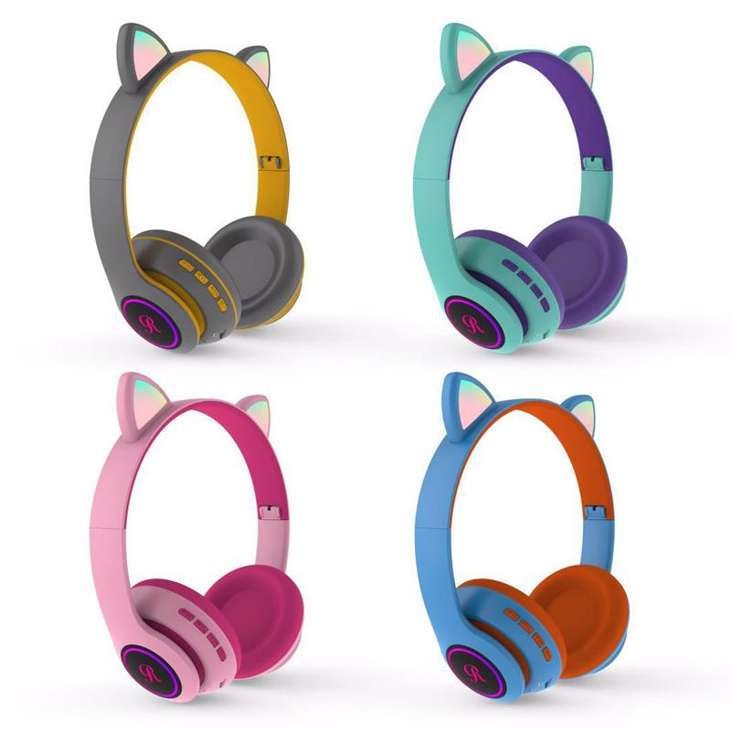 Cute Cat Bluetooth 5.0 Headset Wireless HiFi Music Stereo Bass Headphones LED Light Mobile Phones