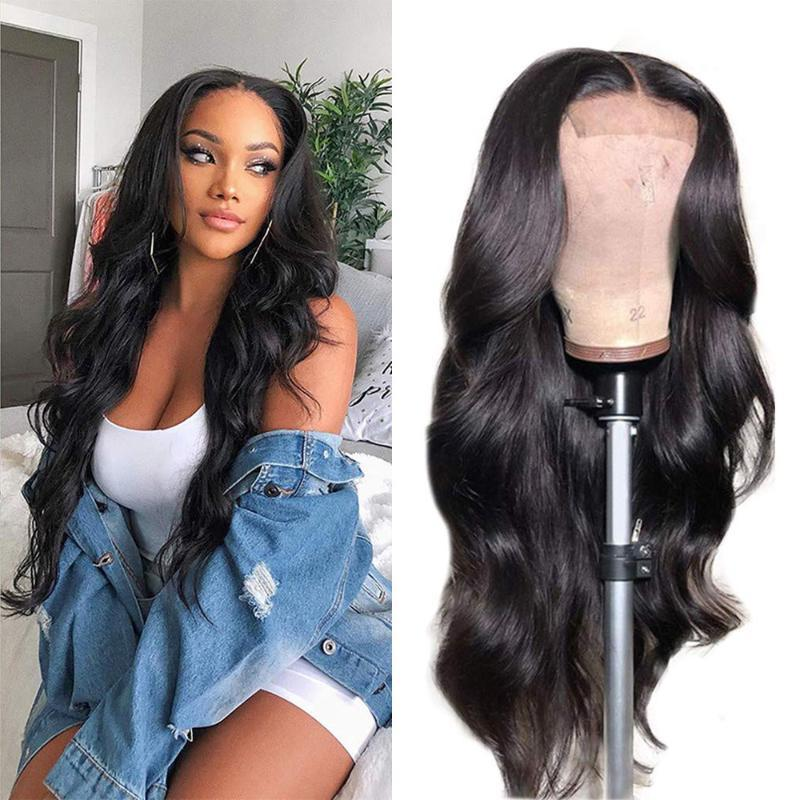 4x4 кружева закрывающие парики парики тела человеческие волосы с детскими волосами Precked180% плотность человеческих париков для женщин