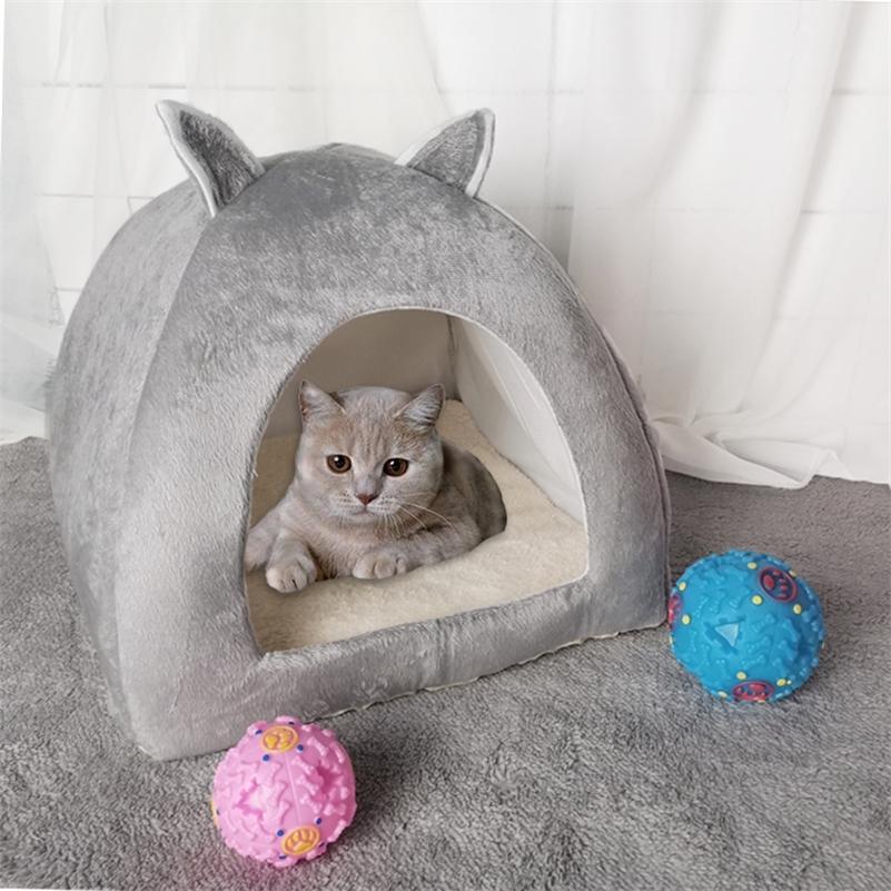 Dropshipping 2-I в-1 кошка кровать пещера крытый складной теплый котенок дом небольшой собака гнездо питомца питомца спать с мячом бесплатный подарок LJ201225