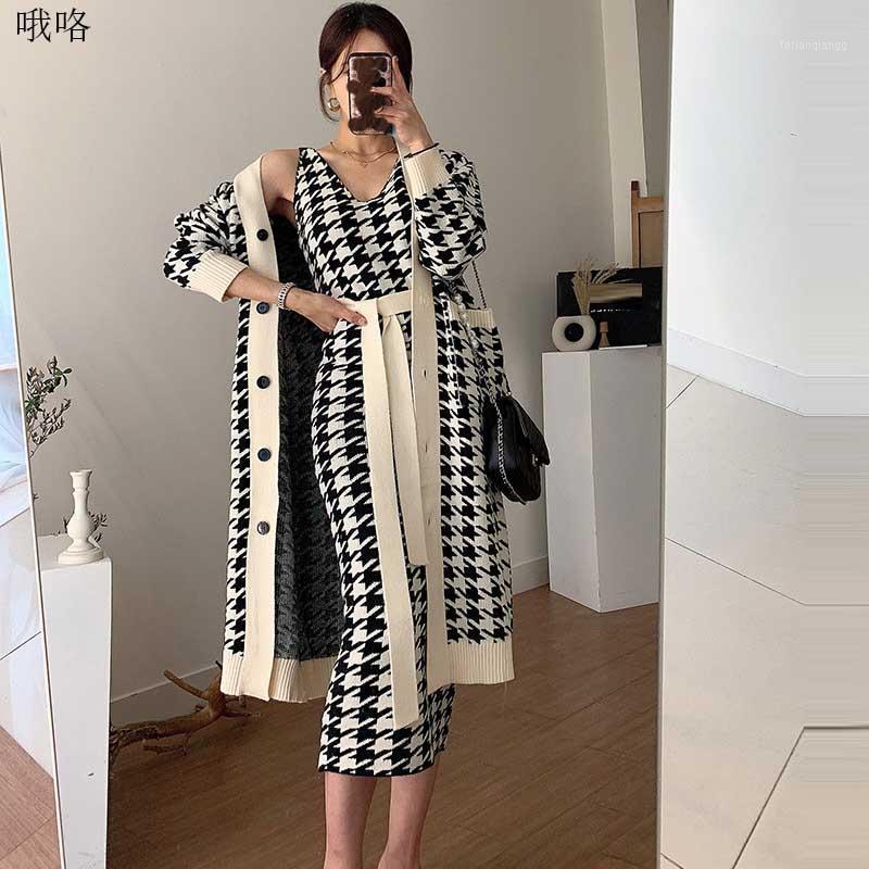 Mulheres Mulheres Houndstooth de malha camisola vestido coreano solto senhoras malha camisola cardigan jaqueta