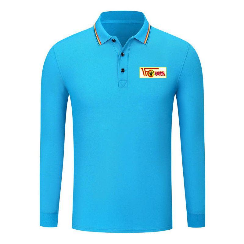 fc union berlin Premium Long Sleeve Lapel POLO Fashion Football Elastic Long Sleeve Shirt Combed Cotton Soccer Sports Rainbow Lapel POLO