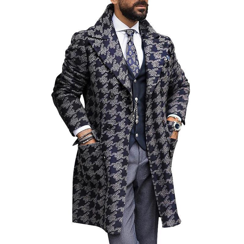 2021 Herbst- und Winterjacken der europäischen und amerikanischen Größe MITTELLE SUCK Halsband Mode gedruckt Windjacke Herrenmantel