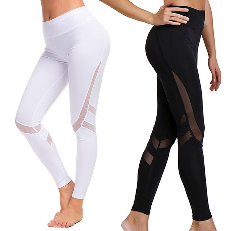 XXL Women Yoga Pants Sportswear Mesh Fitness High Waist Tight Sport Running Gym Wear Workout Active Clothing Track Trousers 201103