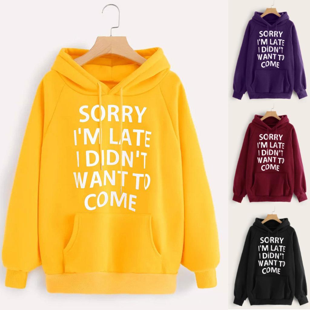 4Colour S-3XL 여성 패션 캐주얼 스포츠 새로운 편지 인쇄 T 셔츠 스웨터 후드 스웨터 탑 풀오버 22546752978287